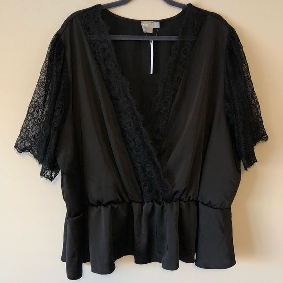 ASOS Curve Tops - NWT ASOS Curve Black Lace-Sleeve Blouse